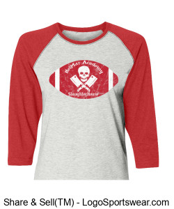 BelMar Academy SlaughterHouse - Ladies Raglan T (Red) Design Zoom