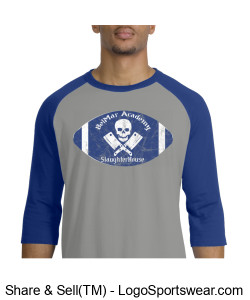 BelMar Academy SlaughterHouse - Mens Raglan T (Blue) Design Zoom