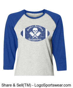 BelMar Academy SlaughterHouse - Ladies Raglan T (blue) Design Zoom